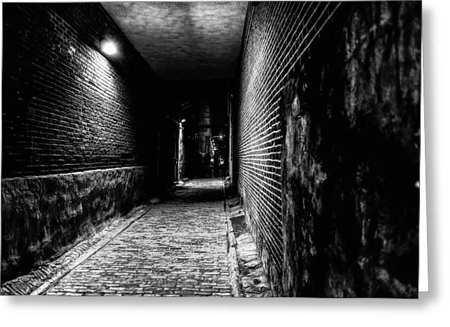 Philadelphia Alley Greeting Cards - Scary Dark Alley Greeting Card by Louis Dallara