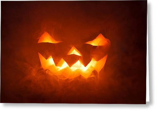 Glowing Pyrography Greeting Cards - Scary Halloween pumpkin smile Greeting Card by Pavlo Kolotenko