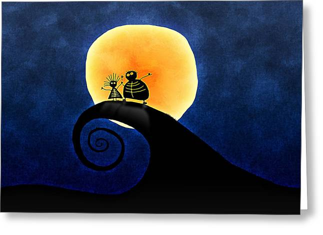 Moon Light Greeting Cards - Scary Moonlight Greeting Card by Gianfranco Weiss