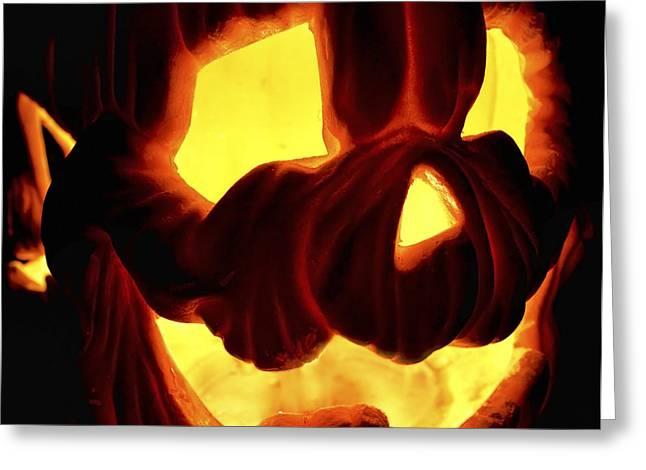 Jack O Lanterns Jackolantern Greeting Cards - Scary Pumpkin Greeting Card by Jason Politte