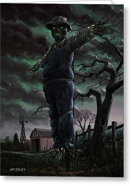 Creepy Digital Art Greeting Cards - Scary Scarecrow in field Greeting Card by Martin Davey