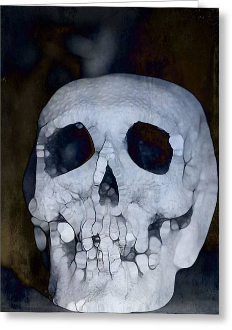 Hallows Eve Greeting Cards - Scary Skull Greeting Card by Dan Sproul