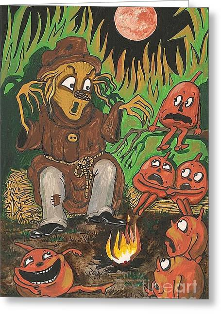 Campfire Stories Greeting Cards - Scarycrowstories Greeting Card by Margaryta Yermolayeva