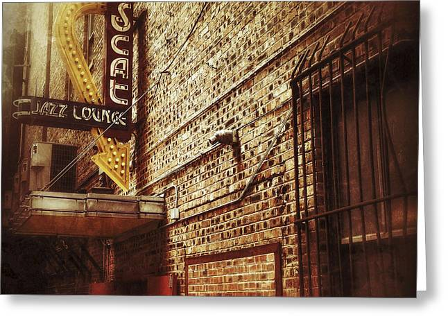 Ft Worth Greeting Cards - Scat jazz lounge Greeting Card by Elena Nosyreva