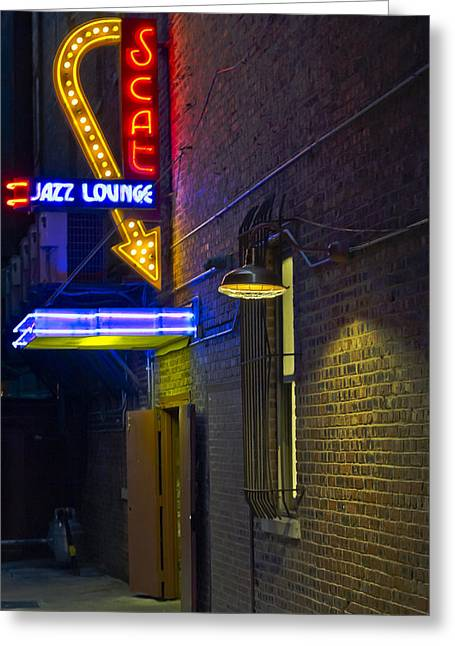 Best Sellers -  - Basement Greeting Cards - Scat Jazz Lounge Greeting Card by Matthew Miller