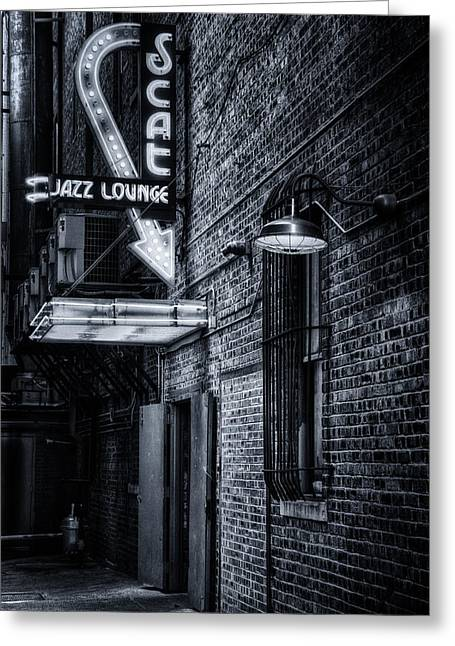 Glowing Greeting Cards - Scat Lounge in Cool Black and White Greeting Card by Joan Carroll