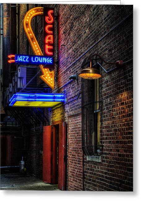 Illuminate Greeting Cards - Scat Lounge Living Color Greeting Card by Joan Carroll