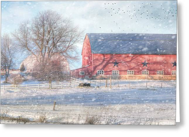 Wintery Barn Greeting Cards - Scattered Snow Showers Greeting Card by Lori Deiter