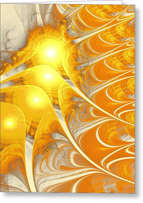 Positive Concept Mixed Media Greeting Cards - Scattered Sun Greeting Card by Anastasiya Malakhova