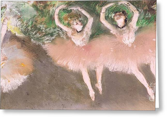Pastel Pink Greeting Cards - Scene de ballet Greeting Card by Edgar Degas