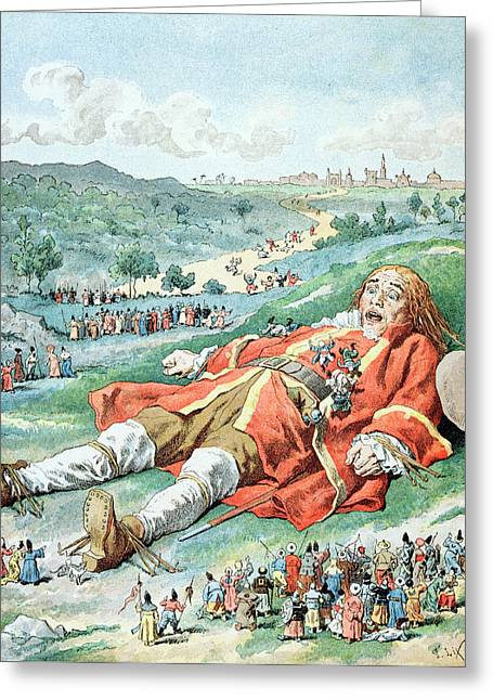 Voyage Drawings Greeting Cards - Scene from Gullivers Travels Greeting Card by Frederic Lix