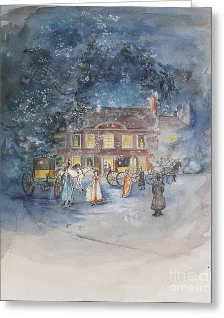 Coach Greeting Cards - Scene from Jane Austens Emma Greeting Card by Caroline Hervey Bathurst