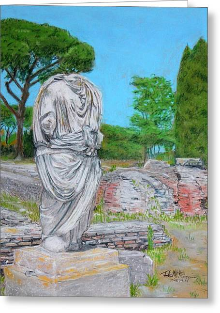 Ruins Pastels Greeting Cards - Scene from Ostia Antica Greeting Card by John Ruggiero