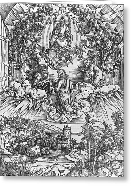 Evangelical Greeting Cards - Scene from the Apocalypse Greeting Card by Albrecht Durer or Duerer