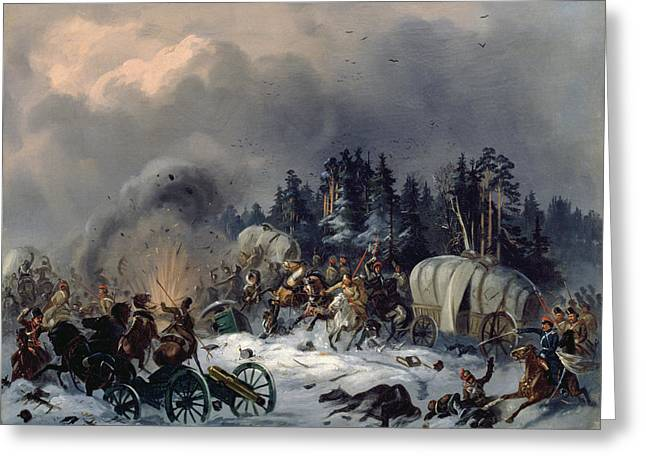 Cavalry Greeting Cards - Scene From The Russian-french War In 1812 Oil On Canvas Greeting Card by Bogdan Willewalde