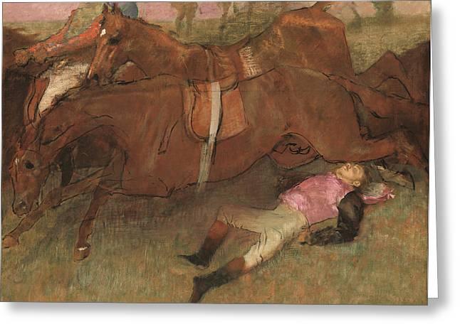 Scene from the Steeplechase The Fallen Jockey Greeting Card by Edgar Degas
