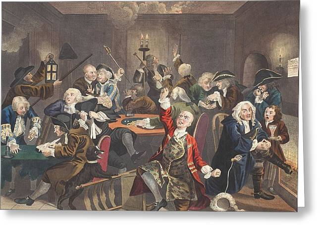 Moral Drawings Greeting Cards - Scene In A Gaming House, Plate Vi Greeting Card by William Hogarth