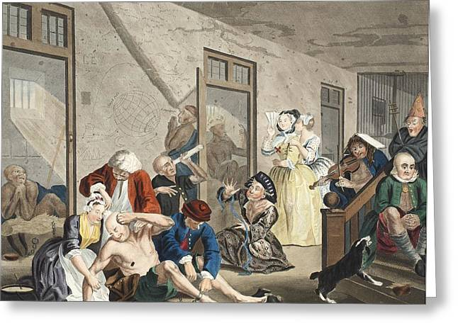 Morality Greeting Cards - Scene In Bedlam, Plate Viii, From A Greeting Card by William Hogarth