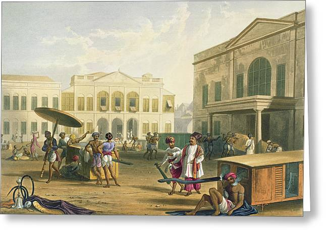 Scene In Bombay, From Volume I Greeting Card by Captain Robert M. Grindlay