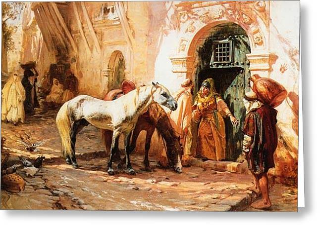 Frederick Drawings Greeting Cards - Scene in Morocco Greeting Card by Bridgeman Frederick Arthur