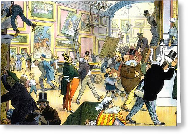Illustrative Greeting Cards - Scene in the Louvre 1911 Greeting Card by Mountain Dreams