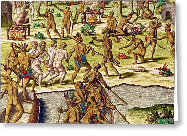 Barbeque Greeting Cards - Scene Of Cannibalism, From Americae Tertia Pars..., 1562 Coloured Engraving Greeting Card by Theodore de Bry