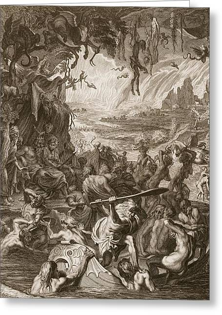 Ferryman Greeting Cards - Scene Of Hell, 1731 Greeting Card by Bernard Picart
