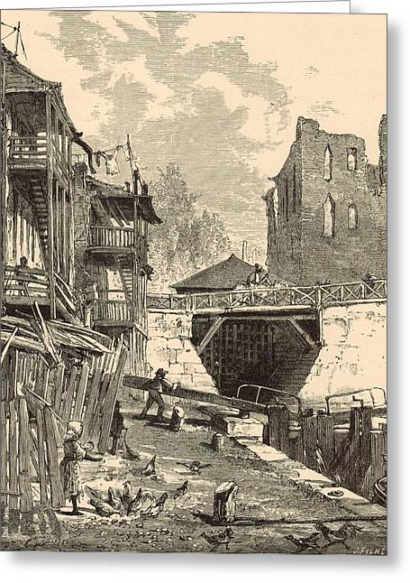 White River Scene Drawings Greeting Cards - Scene on the Canal 1872 Engraving Greeting Card by Antique Engravings