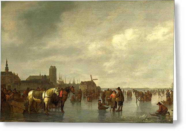Scene On The Ice Outside Dordrecht Greeting Card by Abraham van Calraet