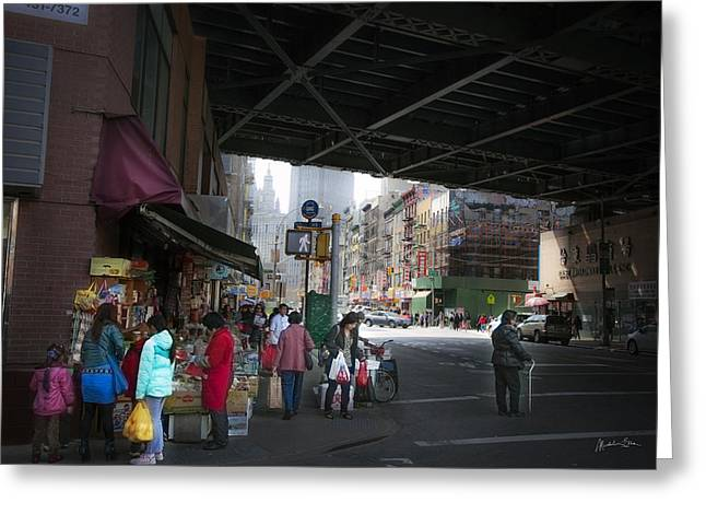 Grocery Store Greeting Cards - Scene Under the Manhattan Bridge Greeting Card by Madeline Ellis