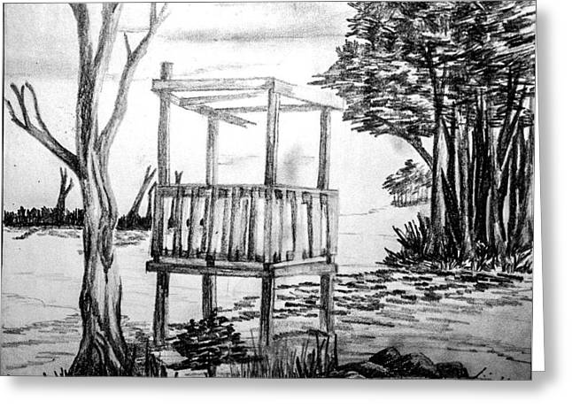 Lanscape Drawings Greeting Cards - Scenery Greeting Card by Siva Prasad