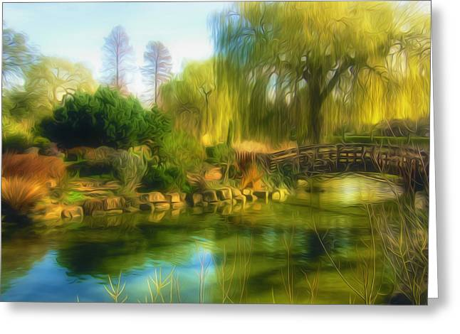 Grass Greeting Cards - Scenery with a tree in a park Greeting Card by Lanjee Chee