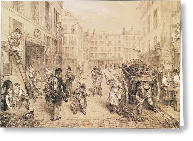 Street Scenes Greeting Cards - Scenes And Morals Of Paris, From Paris Qui Seveille, Printed By Lemercier, Paris Litho Greeting Card by French School