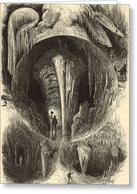 Best Sellers -  - Appleton Art Greeting Cards - Scenes in Weyers Cave Virginia 1872 Engraving Greeting Card by Antique Engravings