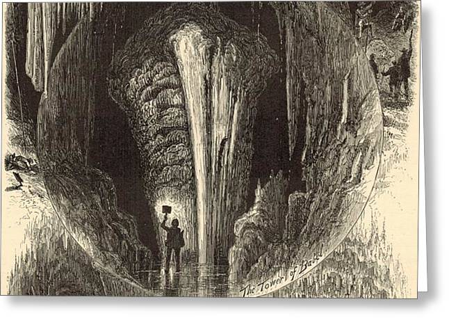 Scenes in Weyer's Cave Virginia 1872 Engraving Greeting Card by Antique Engravings