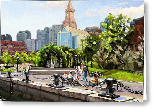 Boston Harbor Greeting Cards - Scenic Boston Greeting Card by Laura Lee Zanghetti