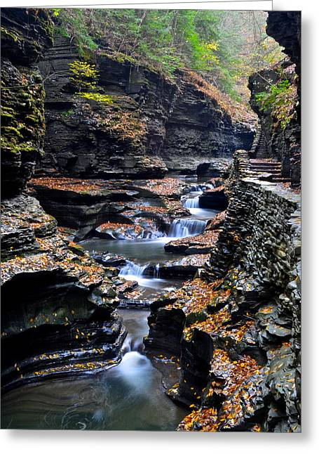 Cavern Greeting Cards - Scenic Cascade Greeting Card by Frozen in Time Fine Art Photography