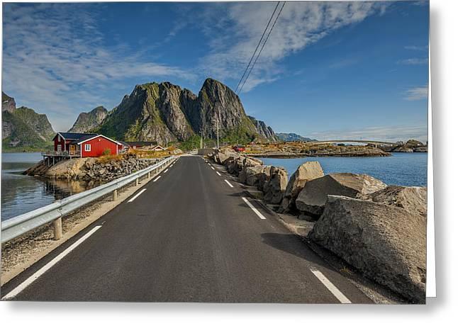 Sea View Greeting Cards - Scenic fjord on Lofoten Greeting Card by Jan Sieminski