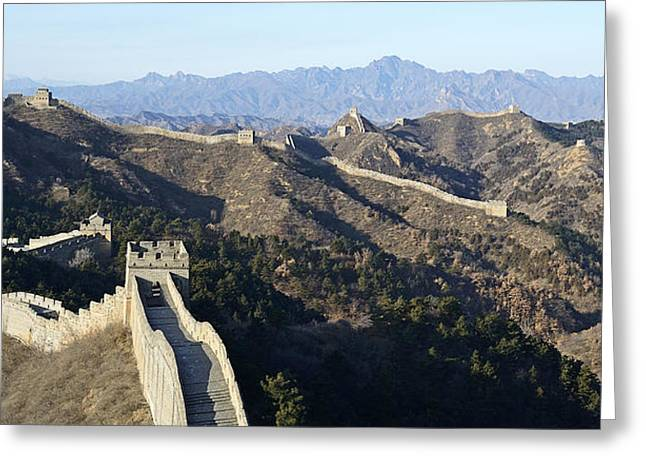 Watch Tower Greeting Cards - Scenic Great Wall of China Greeting Card by Brendan Reals