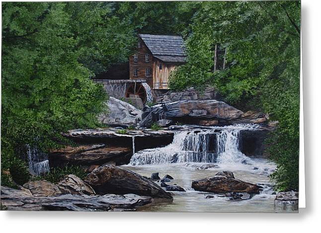 Grist Mill Paintings Greeting Cards - Scenic Grist Mill Greeting Card by Vicky Path