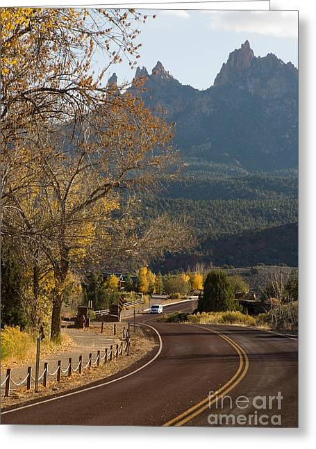Geobob Greeting Cards - Scenic Highway into Zion National Park Springdale Utah Greeting Card by Robert Ford