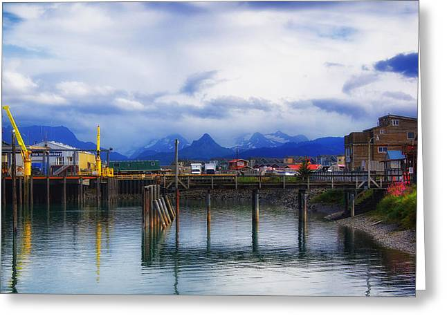 Alaskan Architecture Greeting Cards - Scenic Homer Alaska Greeting Card by Mountain Dreams