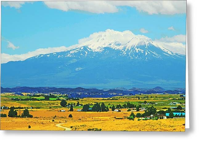 Road Covered With Snow Greeting Cards - Scenic Mt Shasta California Greeting Card by Donna Haggerty