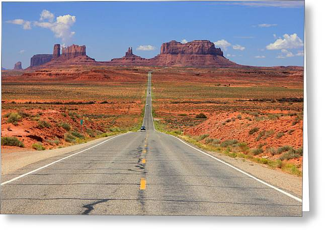 Scenic Drive Greeting Cards - Scenic road into Monument Valley Greeting Card by Johnny Adolphson