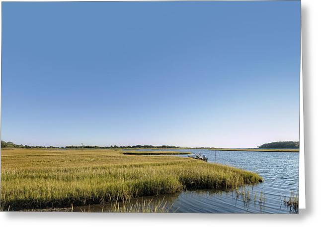 Sailboats In Water Greeting Cards - Scenic saltwater marsh in Connecticut Greeting Card by Marianne Campolongo