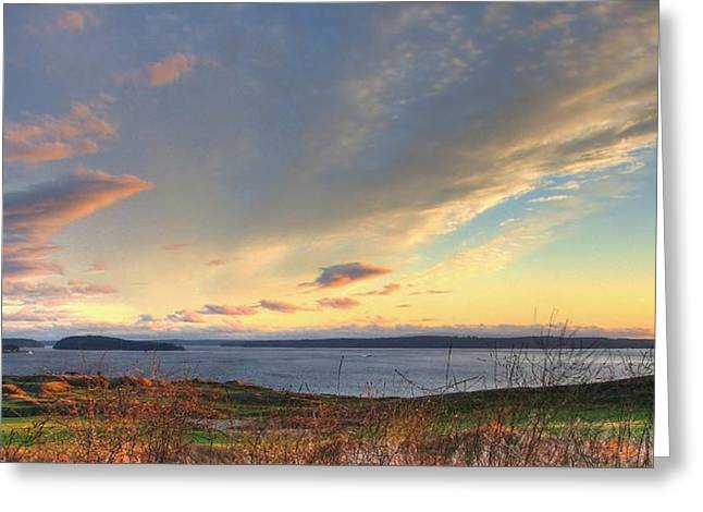 University Place Greeting Cards - Scenic Splendor - Chambers Bay Golf Course Greeting Card by Chris Anderson