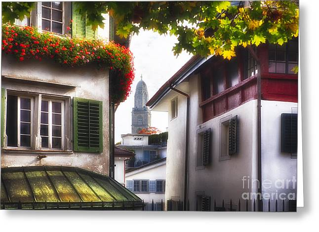 Various Greeting Cards - Scenic Street Scene in Old Town Zurich Greeting Card by George Oze