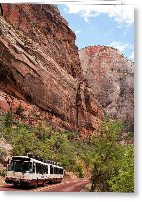 Geobob Greeting Cards - Scenic Tram Zion National Park Utah Greeting Card by Robert Ford