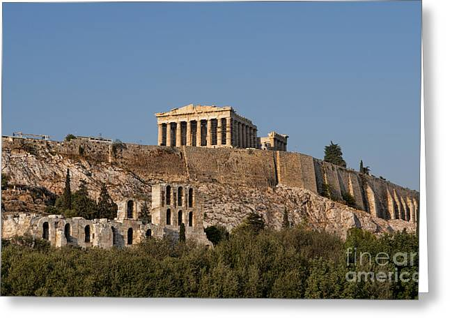Ancient Ruins Greeting Cards - Scenic Twilight View Of Acropolis Greeting Card by Bill Bachmann