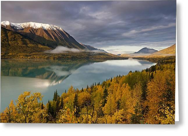 Kenai Lake Greeting Cards - Scenic View During Autumn Of Kenai Lake Greeting Card by Kent Fredriksson